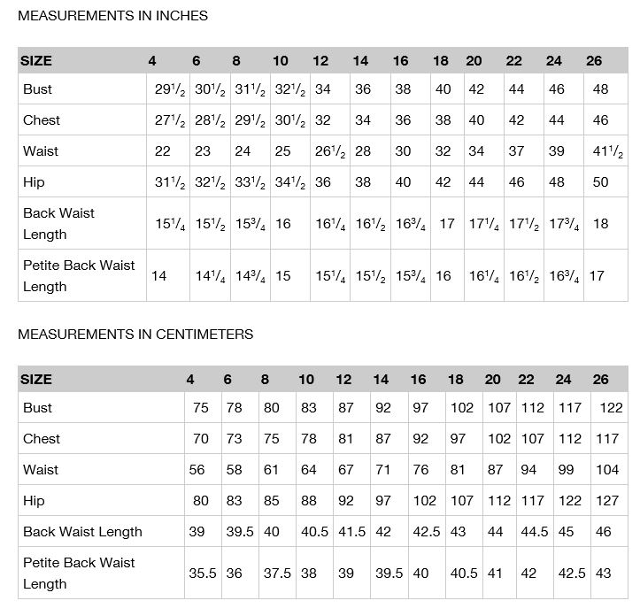 vogue size charts 2016